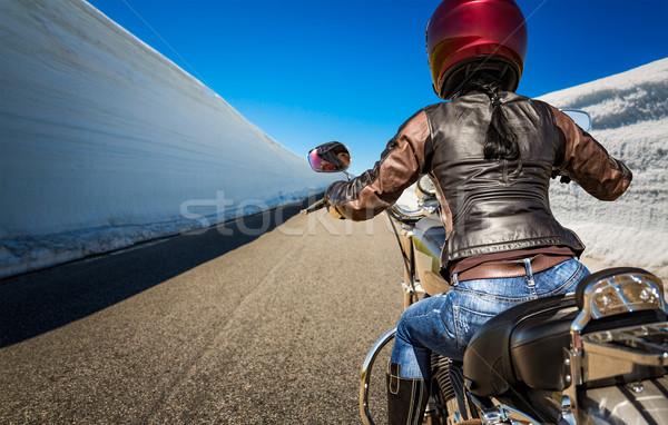 Motoros lány kilátás hegy út magas Stock fotó © cookelma