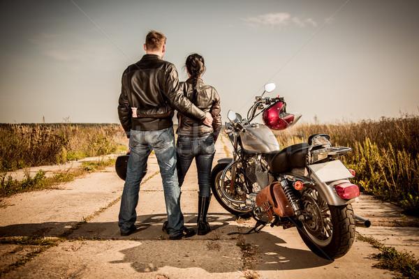 Motoros férfi lány út külső város Stock fotó © cookelma