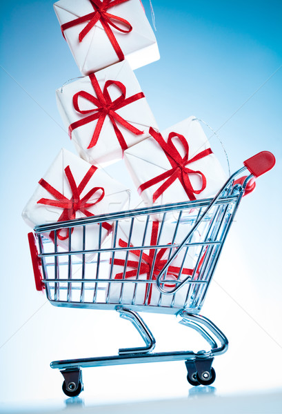 shopping cart ahd gift Stock photo © cookelma