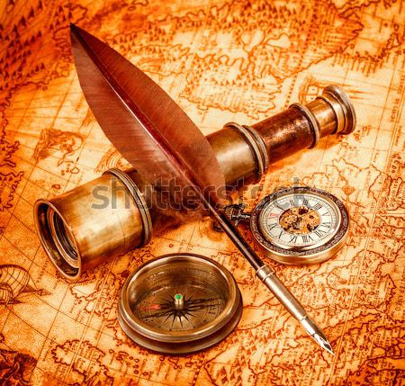 Foto d'archivio: Vintage · ancora · vita · antica · mappa · bussola · pen