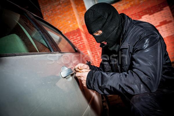 Autó tolvaj maszk rabló ajtó férfiak Stock fotó © cookelma