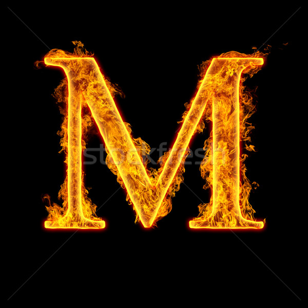 Fire alphabet letter M Stock photo © cookelma