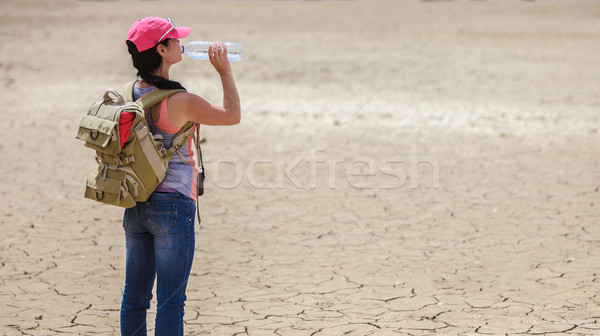 Traveller drinking water from bottle in the desert Stock photo © cookelma