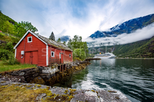 Norway landscape, the house on the shore of the fjord in the bac Stock photo © cookelma