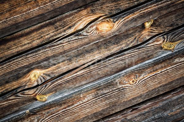 Eski lekeli tahta karanlık ahşap duvar Stok fotoğraf © cookelma