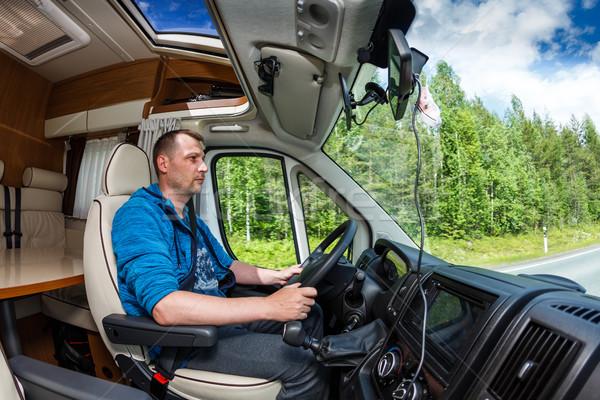 Hombre conducción carretera van caravana Foto stock © cookelma