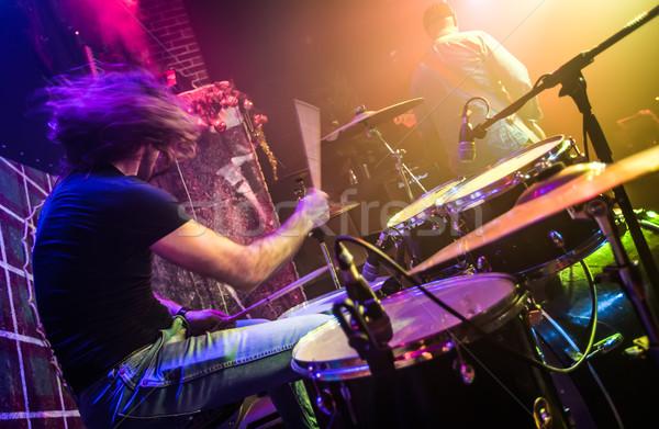 Dobos bemozdult játszik dob szett színpad Stock fotó © cookelma