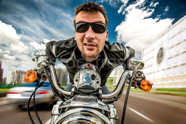 Vicces motoros versenyzés út napszemüveg bőrdzseki Stock fotó © cookelma