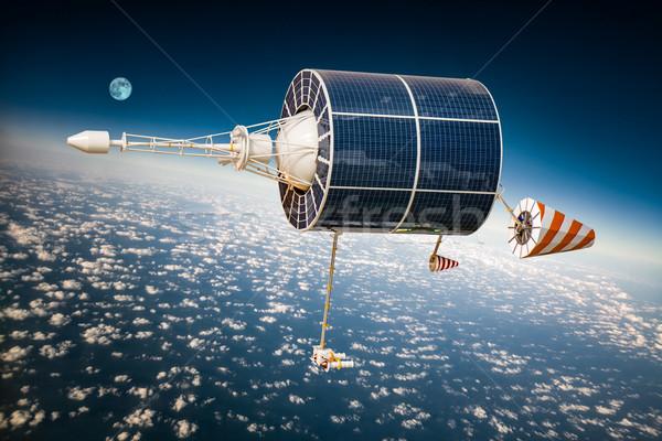 Przestrzeni satelitarnej planety Ziemi ziemi elementy obraz Zdjęcia stock © cookelma