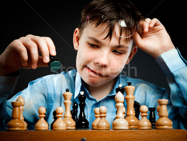 Nerd play chess Stock photo © cookelma