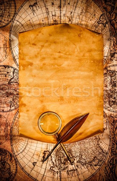 Stockfoto: Oud · papier · oude · kaart · gekruld · rand · business