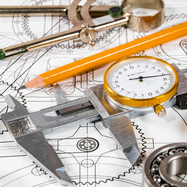 Technical drawing and tools Stock photo © cookelma