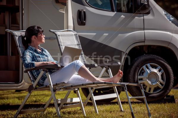 Familie vakantie reizen vakantie reis vrouw Stockfoto © cookelma