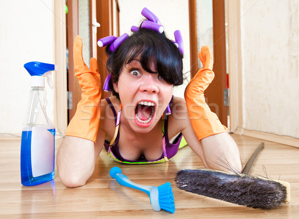 Сток-фото: домохозяйка · полу · дома · женщины · домой · рабочих