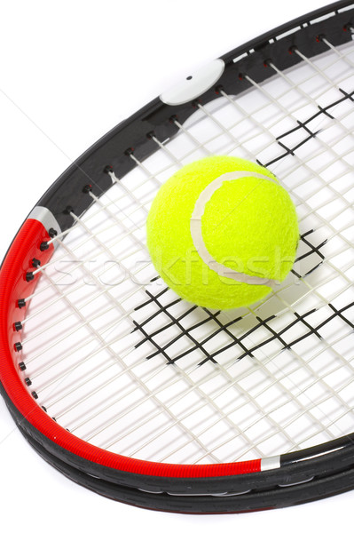 Tennis racket with a ball on a white background. Stock photo © cookelma