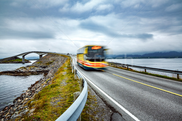 Public bus traveling on the road in Norway Stock photo © cookelma