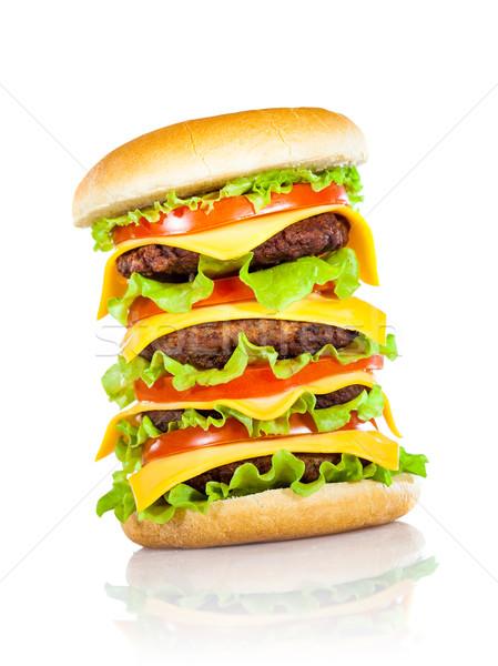 Savoureux appétissant hamburger blanche isolé bar Photo stock © cookelma