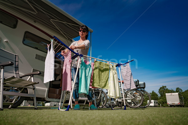 Washing on a dryer at a campsite. Stock photo © cookelma