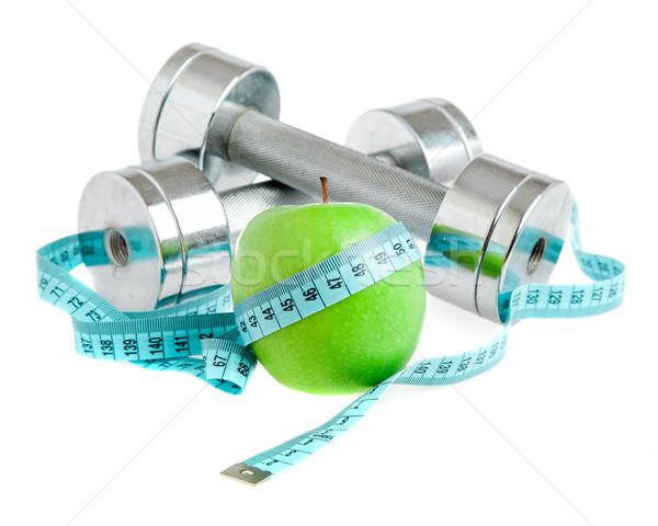 Pesas manzana saludable manera vida blanco Foto stock © cookelma