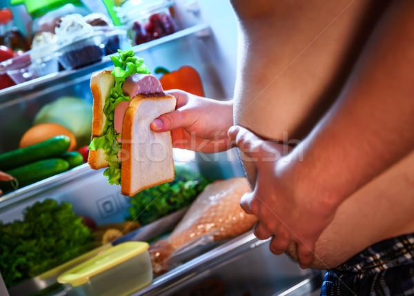 Aç adam sandviç eller ayakta Stok fotoğraf © cookelma