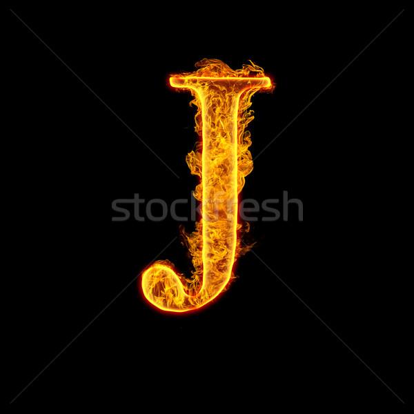 Fire alphabet letter J Stock photo © cookelma