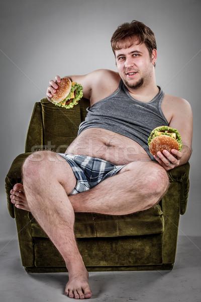 Yeme hamburger koltuk stil Stok fotoğraf © cookelma