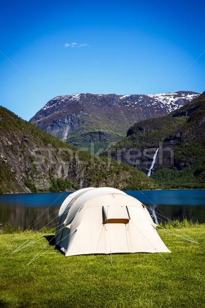 Turista sátor part tó kempingezés ünnep Stock fotó © cookelma
