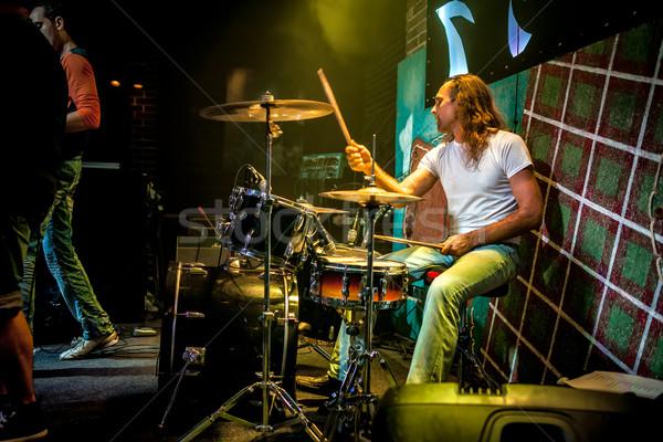 Trommelaar spelen trommel ingesteld fase waarschuwing Stockfoto © cookelma