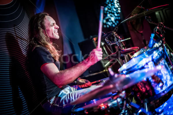 Játszik dobok zenész színpad rockzene koncert Stock fotó © cookelma