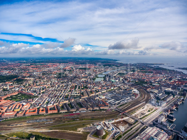 City aerial view over Copenhagen Stock photo © cookelma