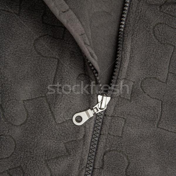 Közelkép cipzár fekete terv szövet ruha Stock fotó © cookelma