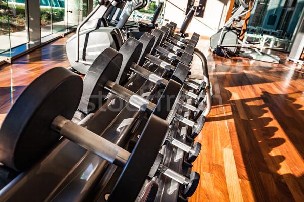 Gymnasium interieur uitrusting metaal staal Stockfoto © cookelma