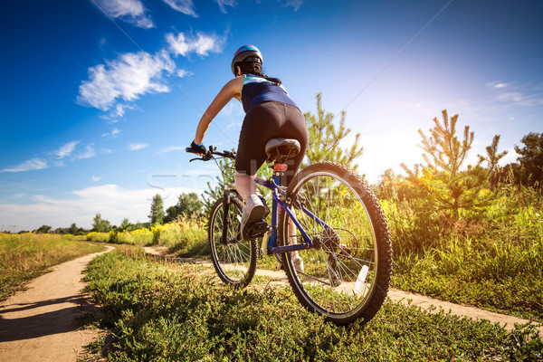 Mujeres moto naturaleza equitación deporte fitness Foto stock © cookelma