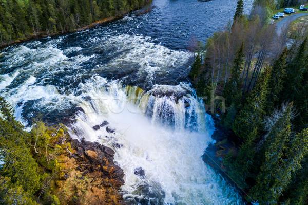 Cascada occidental uno hermosa cascadas Suecia Foto stock © cookelma