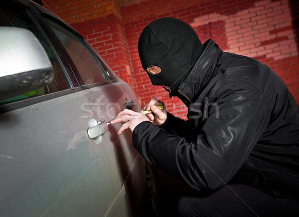 Rover dief masker auto mannen stedelijke Stockfoto © cookelma