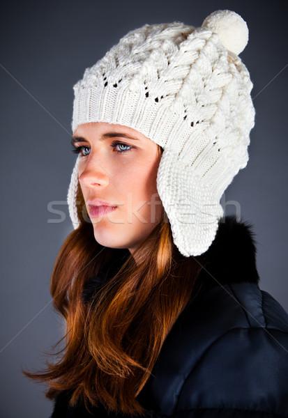 Сток-фото: портрет · зима · Cap · темно · лице