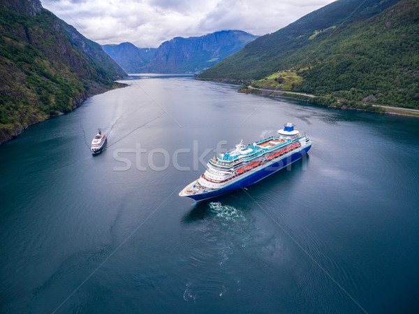 Cruiseschip cruise Noorwegen antenne fotografie hemel Stockfoto © cookelma