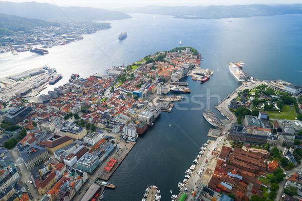 Miasta zachód wybrzeża Norwegia widoku wzrost Zdjęcia stock © cookelma