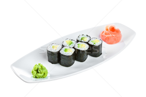 Sushi (Maguro maki roll shiroy) on a white background Stock photo © cookelma