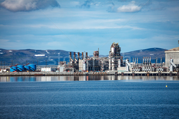 Hammerfest Island Muolkkut Northern Norway, gas processing plant Stock photo © cookelma