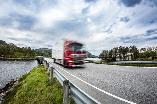 Fuel truck rushes down the highway, Norwey. Truck Car in motion  Stock photo © cookelma