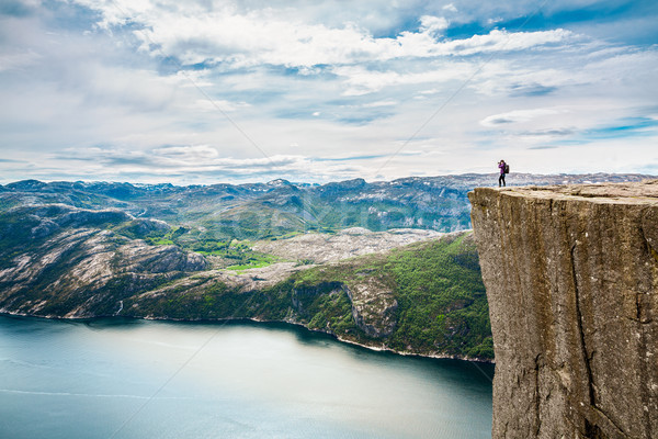 Nature photographer Beautiful Nature Norway Preikestolen or Prek Stock photo © cookelma