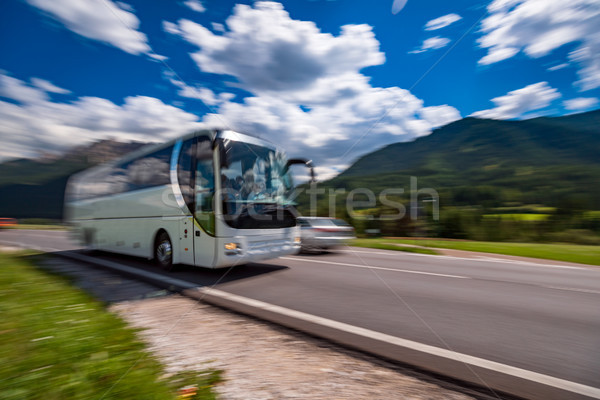 Tourist bus traveling on the road Stock photo © cookelma