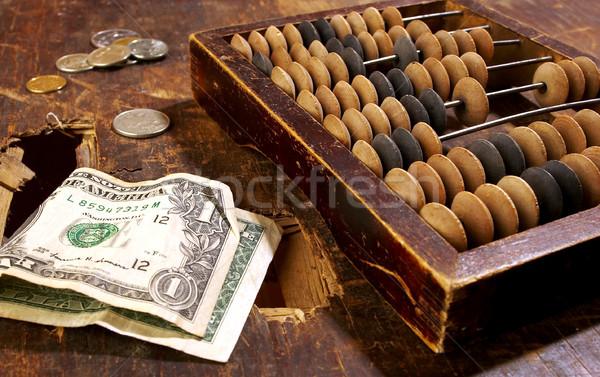 Csőd egy dollár öreg asztal üzlet Stock fotó © cookelma