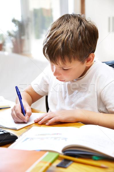 boy behind a desk Stock photo © cookelma