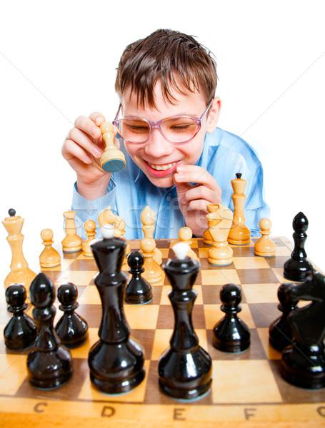 Stockfoto: Nerd · spelen · schaken · witte · leuk · jeugd