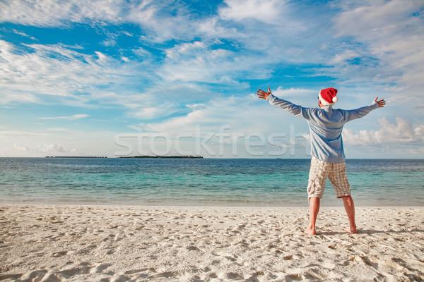 Foto stock: Homem · seis · praia · tropical · natal · férias