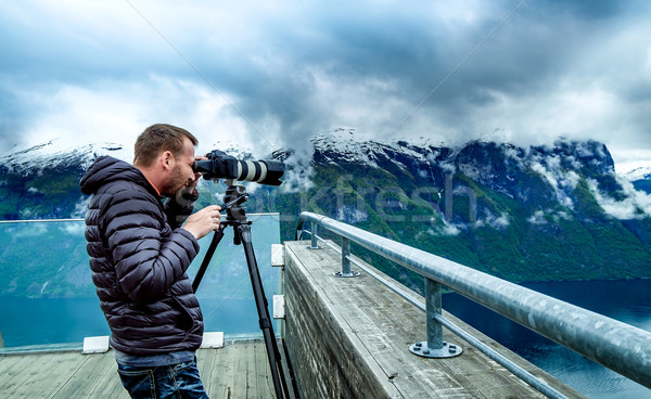 Nature photographer Stegastein Lookout Beautiful Nature Norway. Stock photo © cookelma
