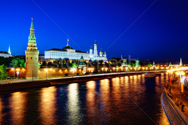 Moscow, night view of the Kremlin. Stock photo © cookelma