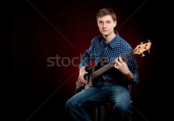 человека гитаре темно красный мужчин рок Сток-фото © cookelma